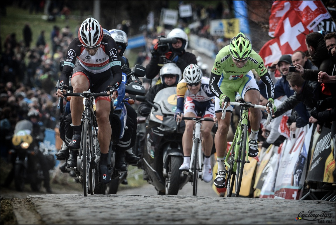Fabian Cancellara asciende uno de los muros del Tour de Flandes 2013 (Foto: www.cronoramia.com)