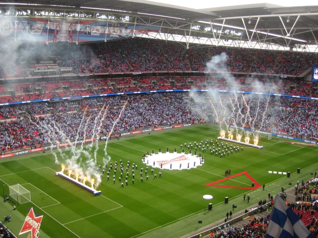El estadio de Wembley en la presentación de la final de la FA Cup.