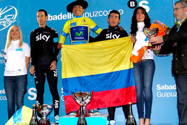 Nairo Quintana tras ganar la Vuelta al País Vasco. Es la gran esperanza del nuevo ciclismo colombiano.